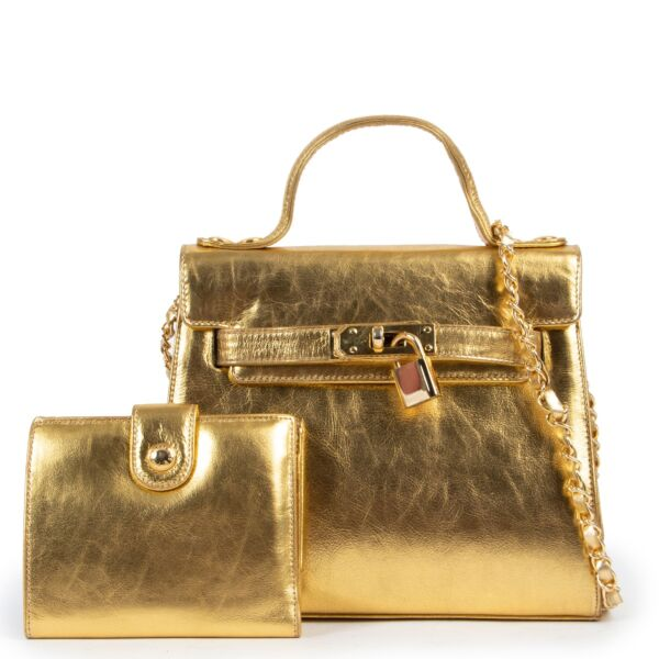 Moschino Gold Leather Crossbody Bag