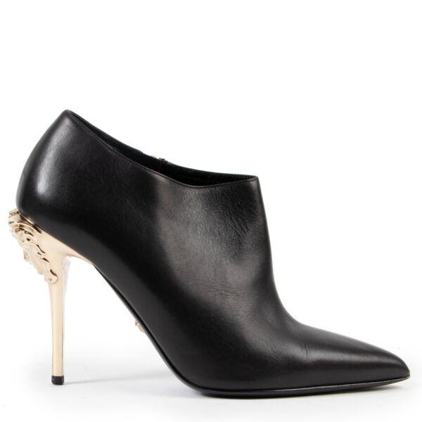 Versace Black Medusa Heel Booties - size 39