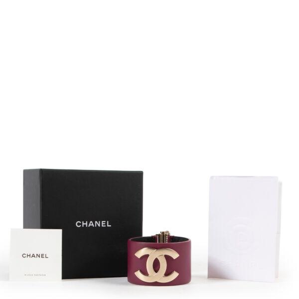 Chanel Large Purple Leather CC Cuff Bracelet