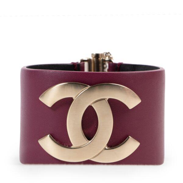 Chanel Purple Leather CC Cuff Bracelet