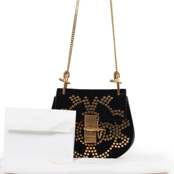 Chloé Black Suede Studded Small Drew Bag GHW