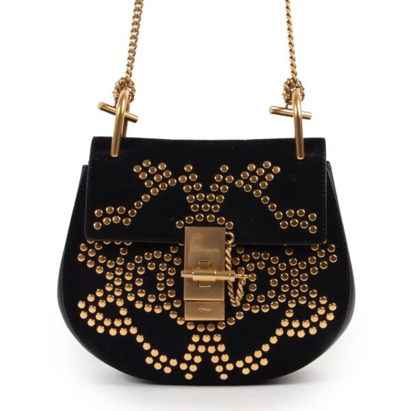 Chloé Black Suede StuddedSmall Drew Bag GHW