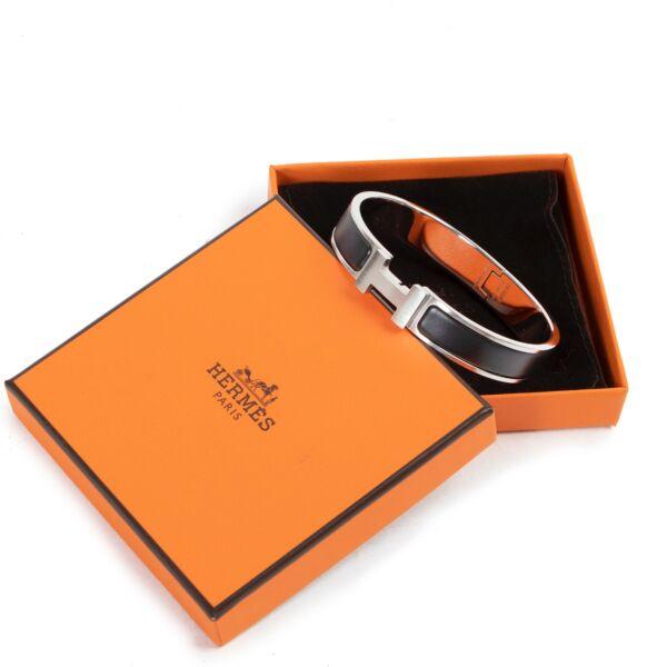 Hermès Black Silver Clic H Bracelet - Size GM
