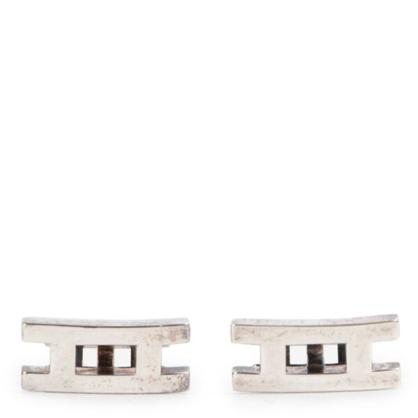 Shop safe online 100% authentic second hand Hermès Silver Pralelle Cufflinks in very good condition at the right price at Labellov in Antwerp.