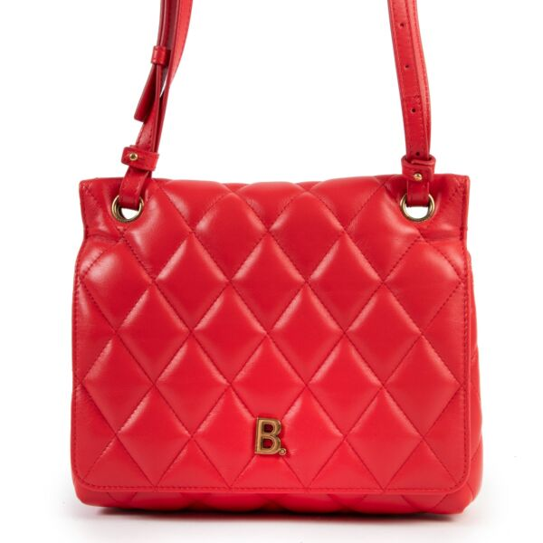 Balenciaga Touch Red Quilted Crossbody