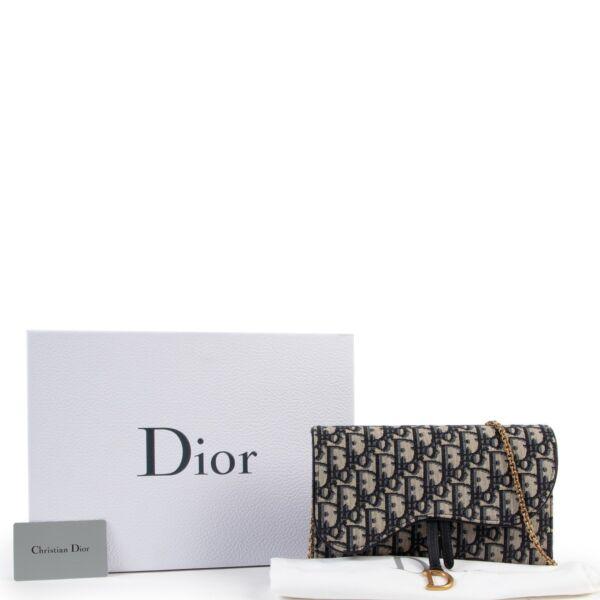 Dior Blue Oblique Jacquard Saddle Pouch