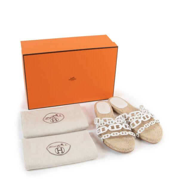 Hermès White Ancone Espadrille Sandals - Size 38