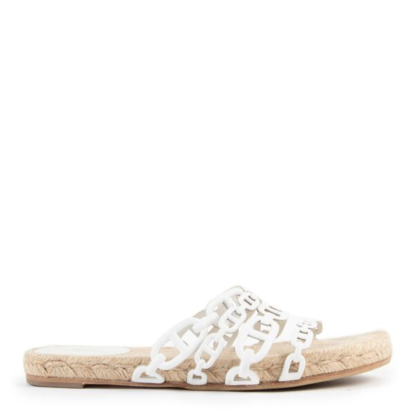 buy and sell authentic second hand Hermès White Ancone Espadrille Sandals - Size 38 at Labellov for the best price