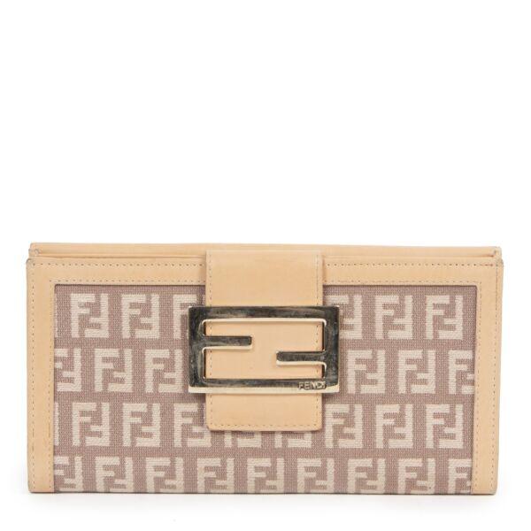 Authentic second-hand vintage Fendi Beige Zucchino Wallet buy online webshop LabelLOV
