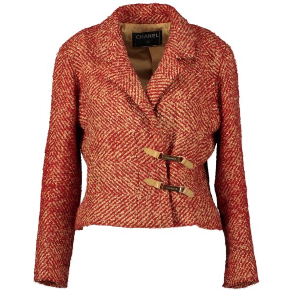 Buy and sell your authentic preloved Chanel Red and Gold Bouclé Vest
