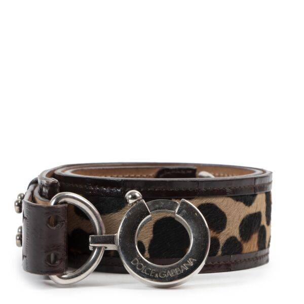 Dolce & Gabbana Leopard Buckle Belt available online at Labellov secondhand luxury