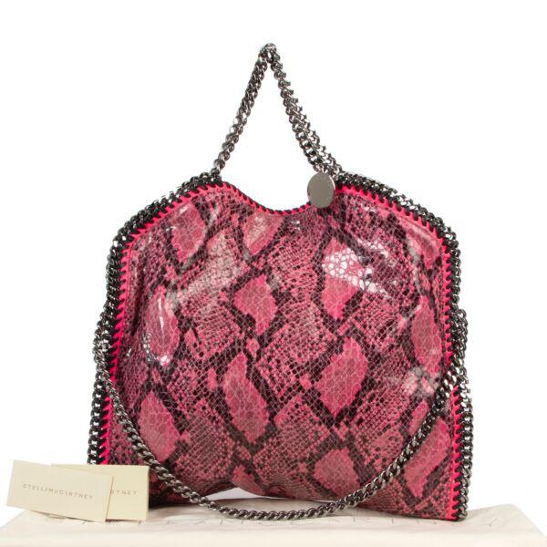 Stella McCartney Pink Faux Python Falabella Small Tote Bag