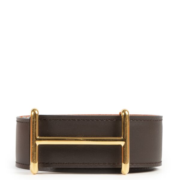 Authentic secondhand Hermès Brown Orange H d'Ancre Reversible Belt - Size 90 designer accessories fashion luxury vintage webshop safe secure online shopping