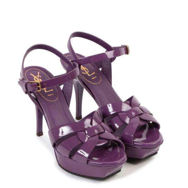 Saint Laurent Purple Patent Leather Tribute Heels - Size 36,5