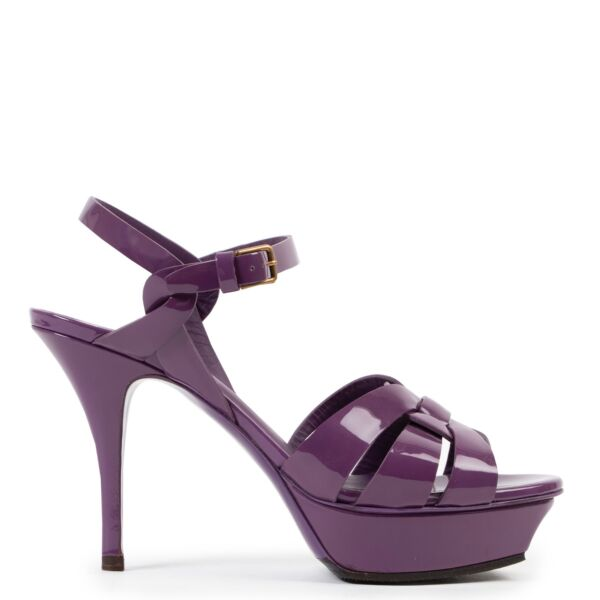 Shop safe online at LABELLOV in Antwerp these 100% authentic second hand Saint Laurent Purple Patent Leather Tribute Heels - Size 36,5
