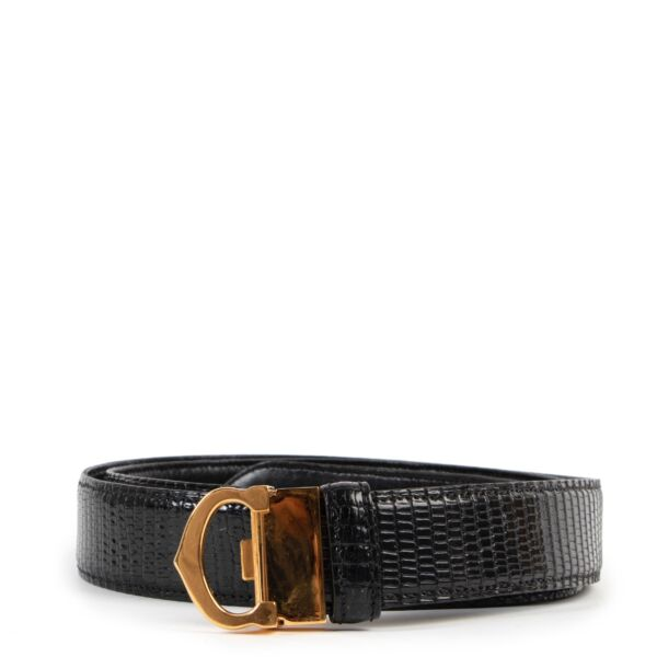 Shop safe online at Labellov in Antwerp this 100% authentic second hand Cartier Black Leather Belt