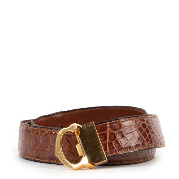 Buy an authentic second hand croco cognac Cartier belt at Labellov