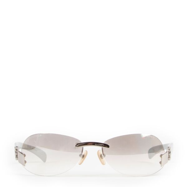 shop authentic second hand vintage Chanel y2k Silver CC Rimless Sunglasses at Labellov for best price