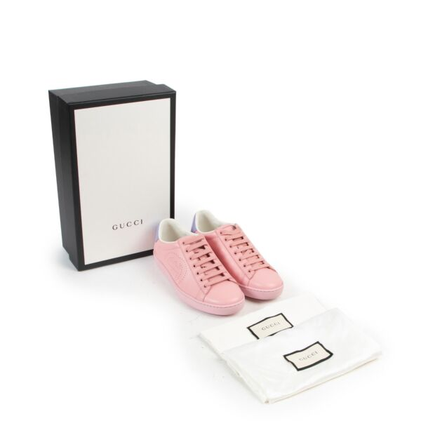 Gucci Pink Purple Perforated Leather Ace Sneakers - size 35.5