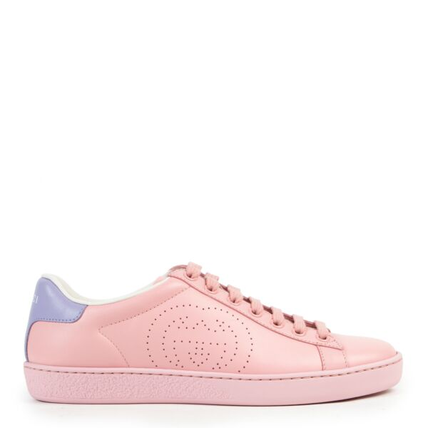Gucci Pink Purple Perforated Leather Ace Sneakers for the best price at Labellov secondhand luxury in Antwerp