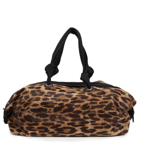 Authentieke Tweedehands Lanvin Leopard Bowling Bag juiste prijs veilig online shoppen luxe merken webshop winkelen Antwerpen België mode fashion