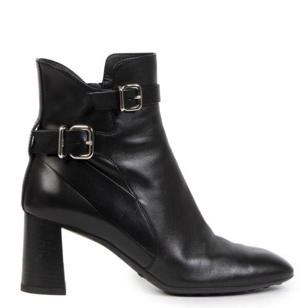 Authentieke Tweedehands Tods Black Leather Ankle Boots juiste prijs veilig online shoppen luxe merken webshop winkelen Antwerpen België mode fashion