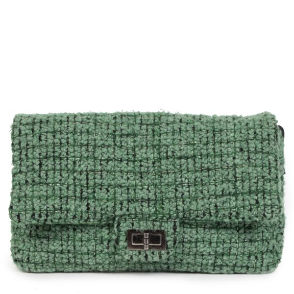 Buy Authentic Chanel Green Wool Fabric Flap Bag at the right price online safe and secure LabelLOV luxury brand Antwerp Belgium
