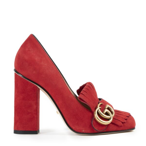 Gucci Marmont Red Suede Pumps  for the best price
