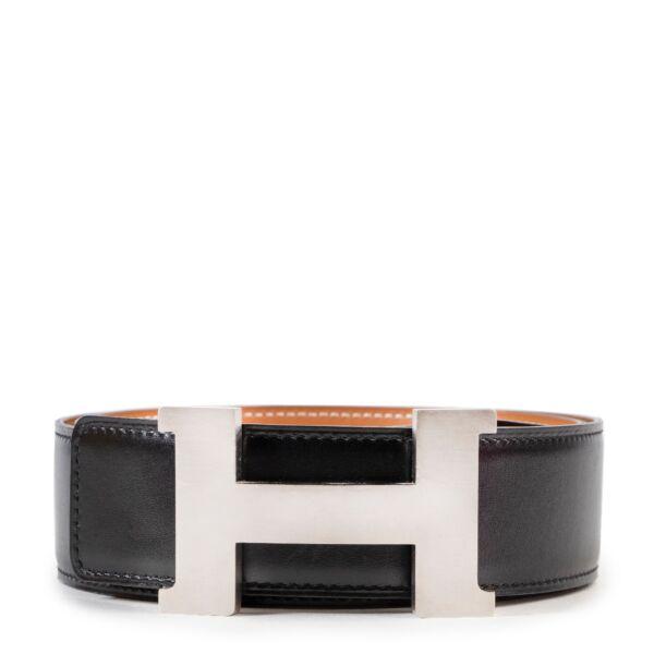 Shop safe online authentic Hermes Black Leather Belt in Size 85 at Labellov.com.