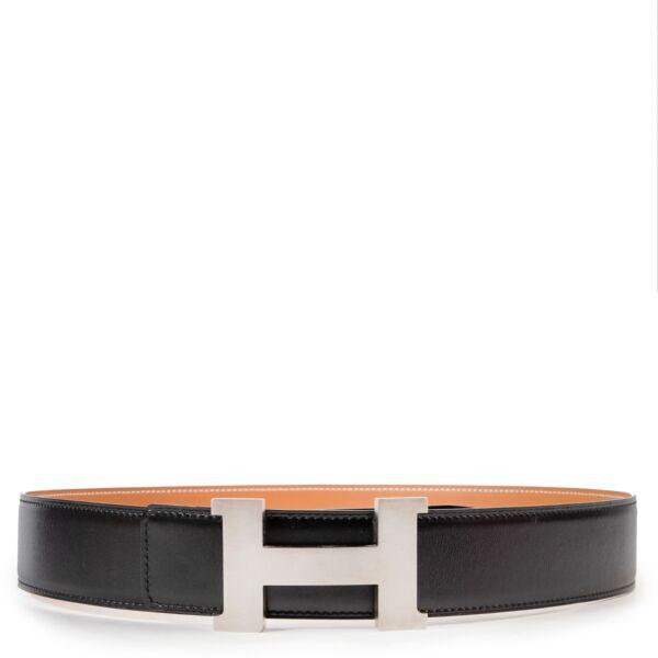 Hermes Black Leather Reversible Constance Belt -  Size 85