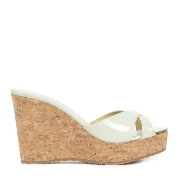 Jimmy Choo Keylime Green Patent Wedges - size 35 for the best price
