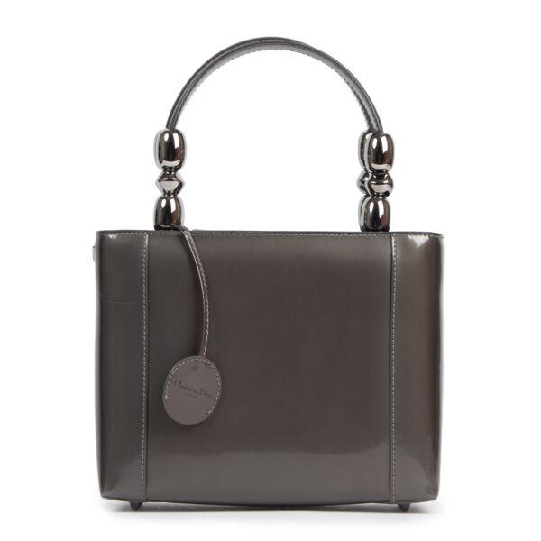 Authentieke tweedehands vintage Christian Dior Malice Grey Top Handle Bag koop online webshop LabelLOV
