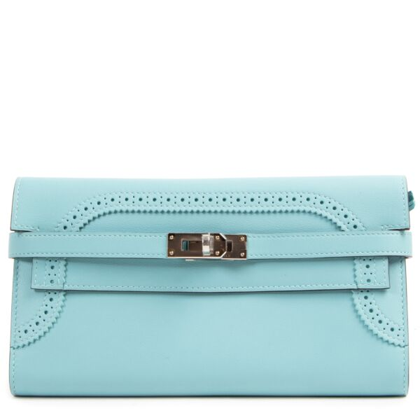 NEW Hermes Kelly Classic Ghillies Wallet Veau Swift Blue Atole PHW seconde main portefeuille portemonnee luxe