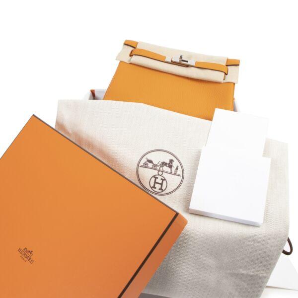 Hermès Kelly a Dos Taurillon Clemence Sangle Abricot Bleu Encre