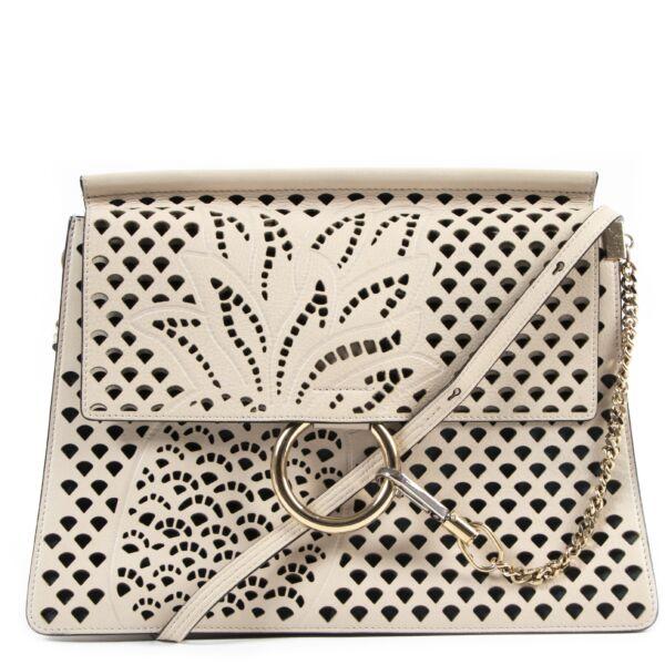 Chloé Beige Faye Large Cut-out Shoulder Bag available exclusively at Labellov vintage designer fashion