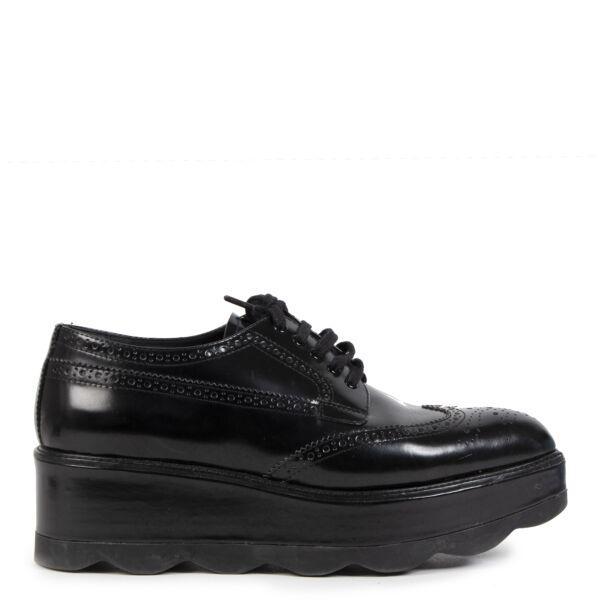 Authentieke Tweedehands Prada Black Leather Platform Shoes - Size 39,5 juiste prijs veilig online shoppen luxe merken webshop winkelen Antwerpen België mode fashion