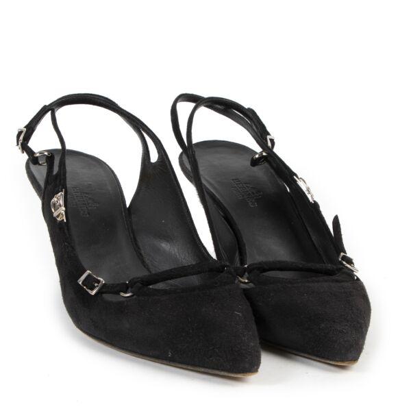 Hermès Black Suede Buckle Pumps - size 39