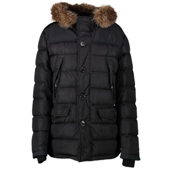 koop veilig online jou tweedehands Moncler Black Duffel Coat - size 3