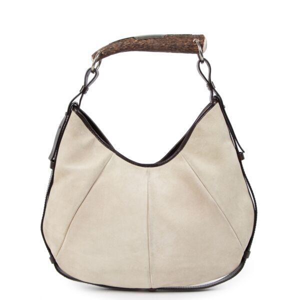 Authentieke Tweedehands Saint Laurent Beige Suede Mombasa Horn Bag juiste prijs veilig online shoppen luxe merken webshop winkelen Antwerpen België mode fashion