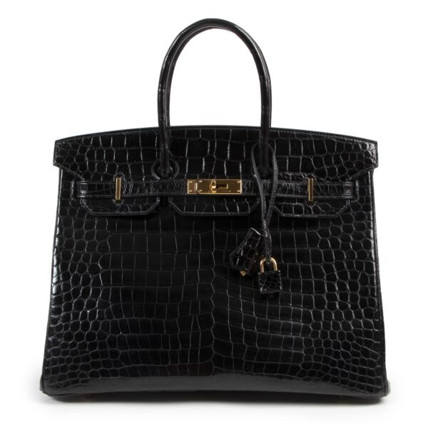 very rare Hermès Birkin 35 crocodile porosus black GHW right now online at labellov.com in antwerp