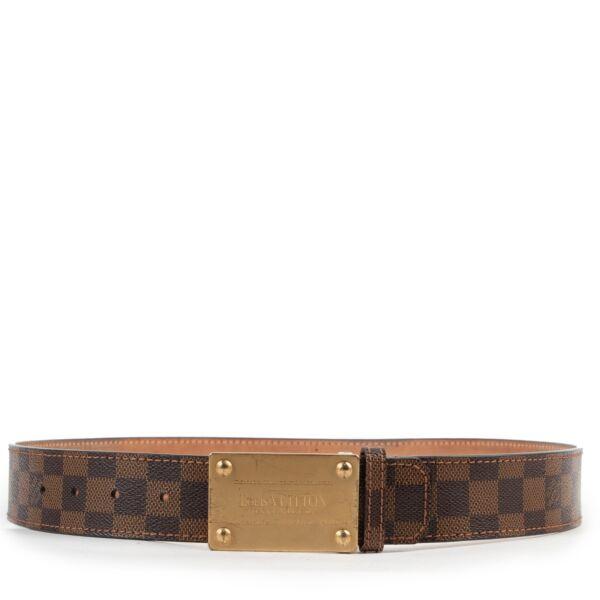 Veilig online kopen van authentieke Louis Vuitton Monogram Damier Ebene riem in maat 90