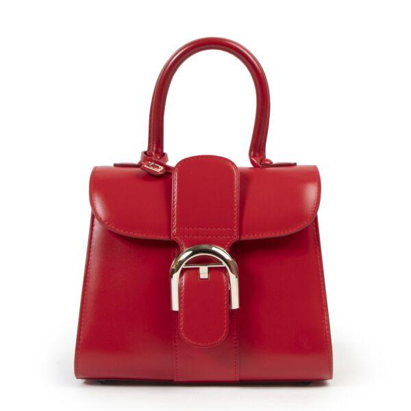 Authentic secondhand Delvaux Red Mini Brillant designer bags fashion luxury vintage webshop safe secure online shopping