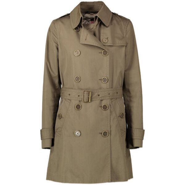 Shop safe online authentic Burberry Khaki Trench Coat in Size 36.