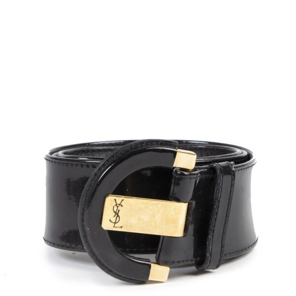 Authentic secondhand Yves Saint Laurent Black Patent Leather Belt - Size 75 luxury vintage webshop fashion safe secure online shopping