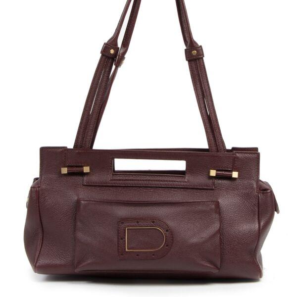 Authentic secondhand Delvaux Burgundy Leather Shoulder Bag  luxury vintage webshop fashion safe secure online shopping
