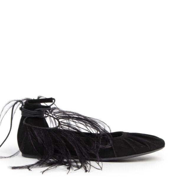 Authentieke Tweedehands Ann Demeulemeester Black Feather-trimmed Suede Flats - Size 38,5 juiste prijs veilig online shoppen luxe merken webshop winkelen Antwerpen België mode fashion