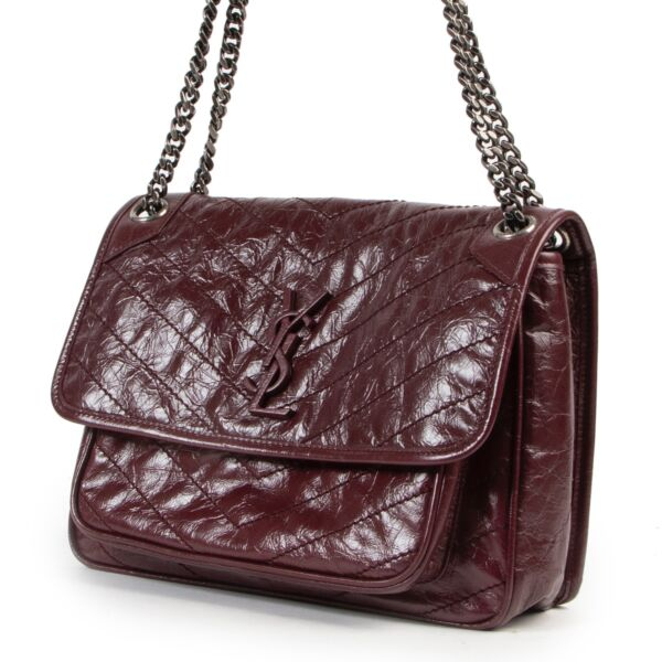 Saint Laurent Aubergine Crinkled Leather Niki Medium Crossbody