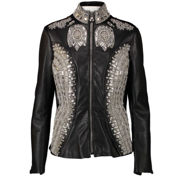 Authentic second-hand vintage Phillipe Plein Black Leather Vogue Jacket Limited Edition - Size M buy online webshop LabelLOV