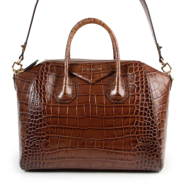 Givenchy Brown Croco EmbosedAntigona Tote Bag