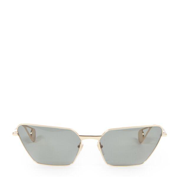 Authentieke Tweedehands Gucci Gold Cat Eye Sunglasses juiste prijs veilig online shoppen luxe merken webshop winkelen Antwerpen België mode fashion